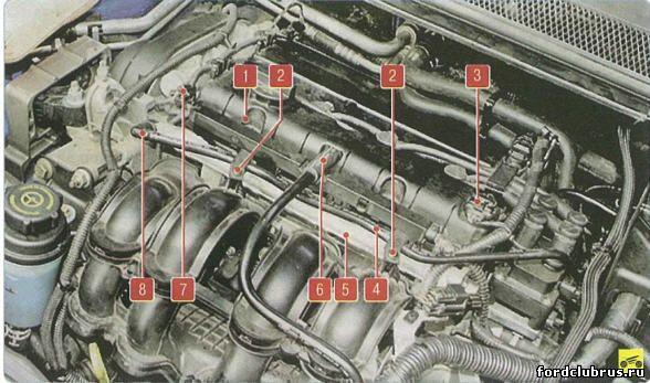 Установка топливной рампы на двигателе 1,6 л Duratec
