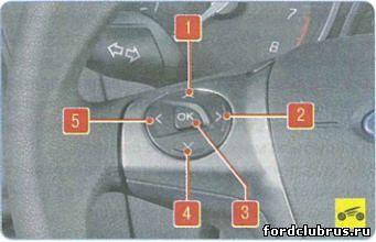 Клавиши управления маршрутным компьютером Форд Фокус 3