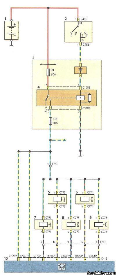 Схема включения форсунок и регулятора холостого хода Форд фокус 1