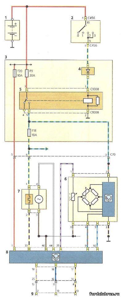 Схема соединений датчика массового расхода воздуха и датчика концентрации кислорода Форд фокус 1