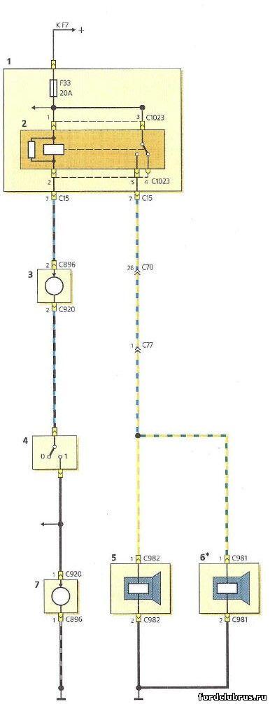 Схема включения звуковых сигналов Форд Фокус 1