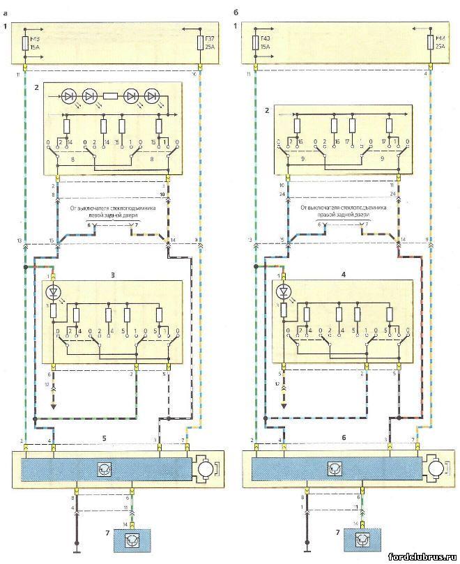 Схема включения стеклоподъемников Форд Фокус 1 с электроприводом только на передних дверях