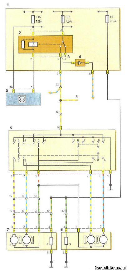 Схема включения электропривода Форд фокус 1 и электрообогрева наружных зеркал заднего вида