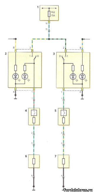Схема включения элементов подогрева передних сидений Форд фокус 1