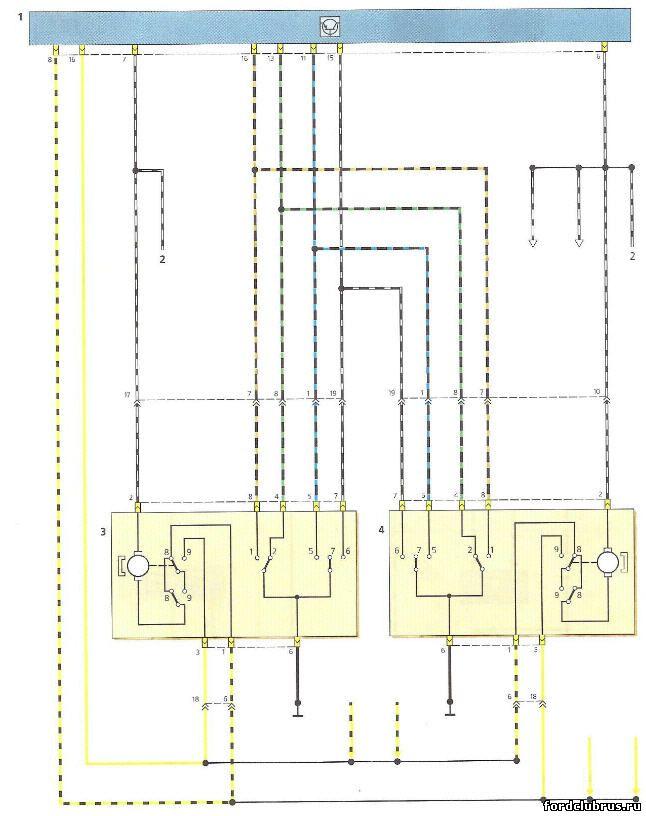 Схема включения электроприводов блокировки замков передних дверей Фокус 1
