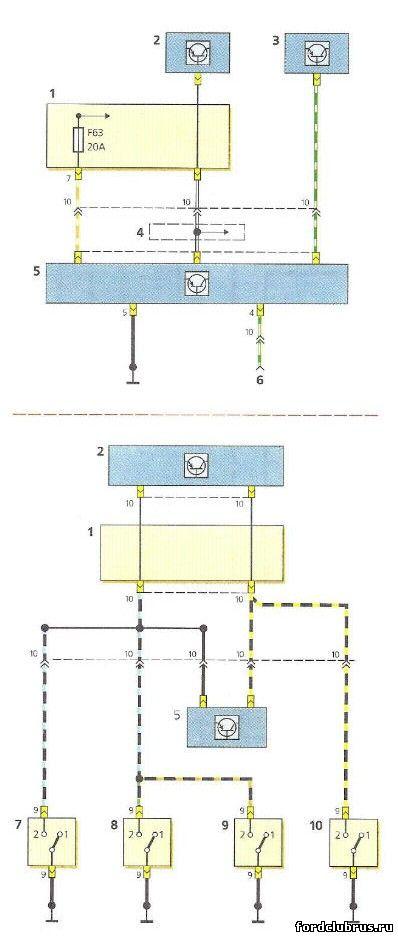 Схема включения охранной сигнализации Форд Фокус 1