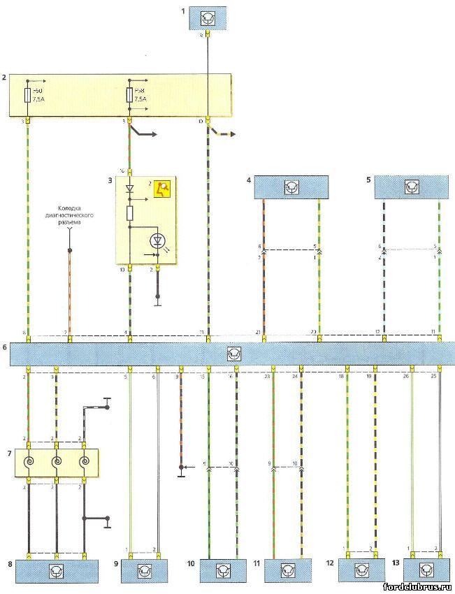 Схема включения блока управления подушками безопасности Форд Фокус 1