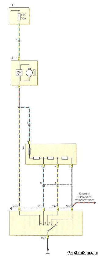 Схема включения электровентилятора отопителя Форд Фокус 1