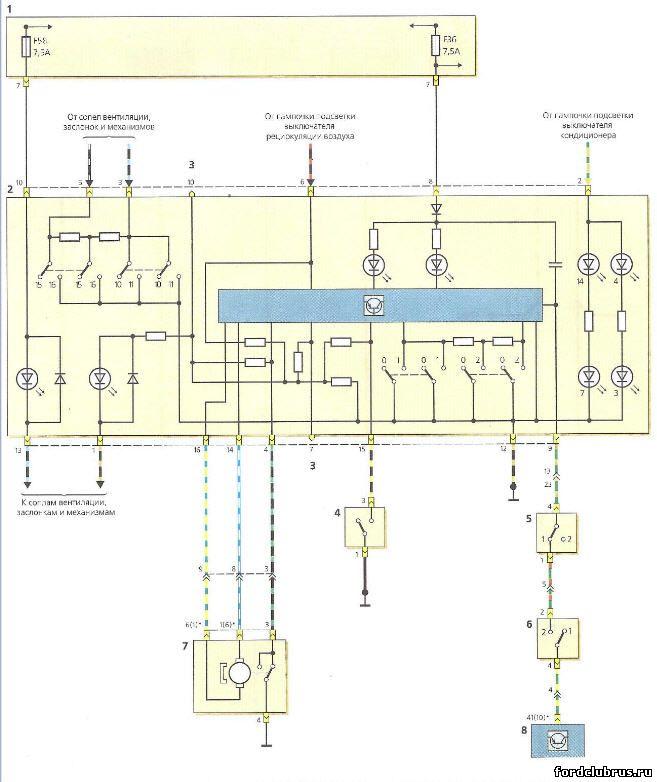 Схема включения панели управления системой отопления Форд Фокус 1, вентиляции салона и кондиционирования воздуха