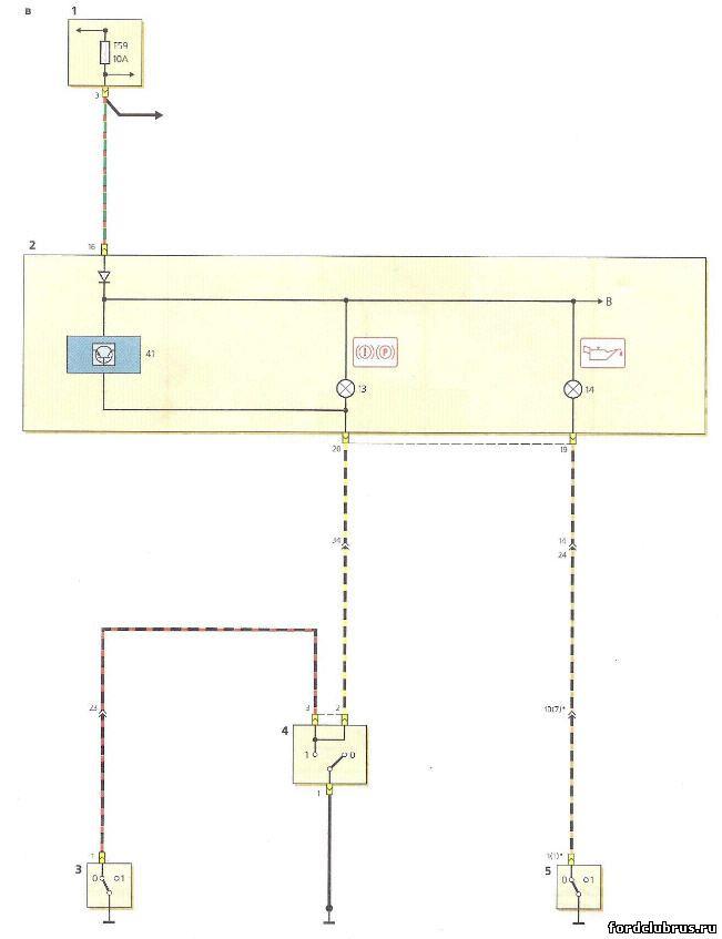Схема цепей комбинации приборов Форд Фокус 1